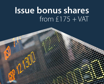 Issue bonus shares from £175 + VAT